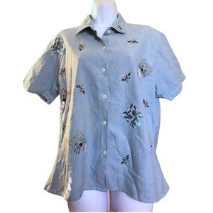 Vintage Cat Embroidered Jean Shirt